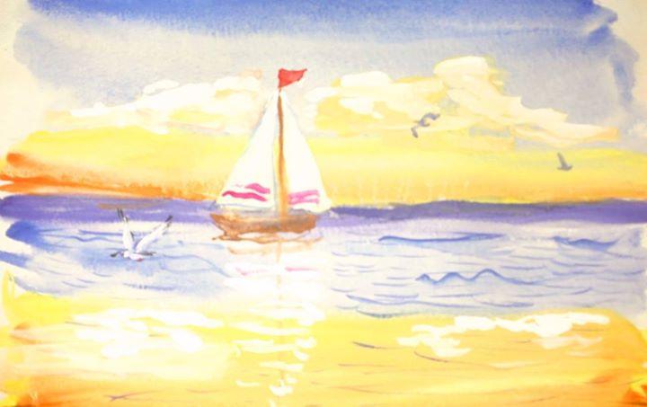 Как нарисовать море краской поэтапно