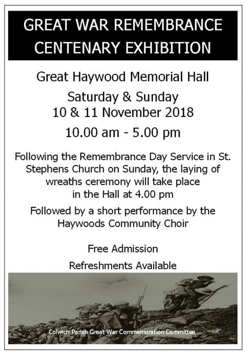End of WW1 Commemorative Performance (time to be confirmed)
