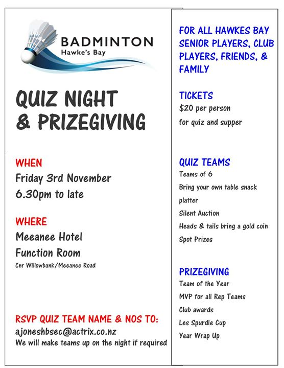 End of Year Celebrations - Quiz Night & Prizegiving combined