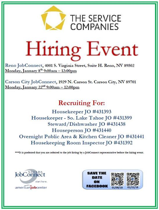 Hiring Event The Service Company At 1929 N Carson St Carson City