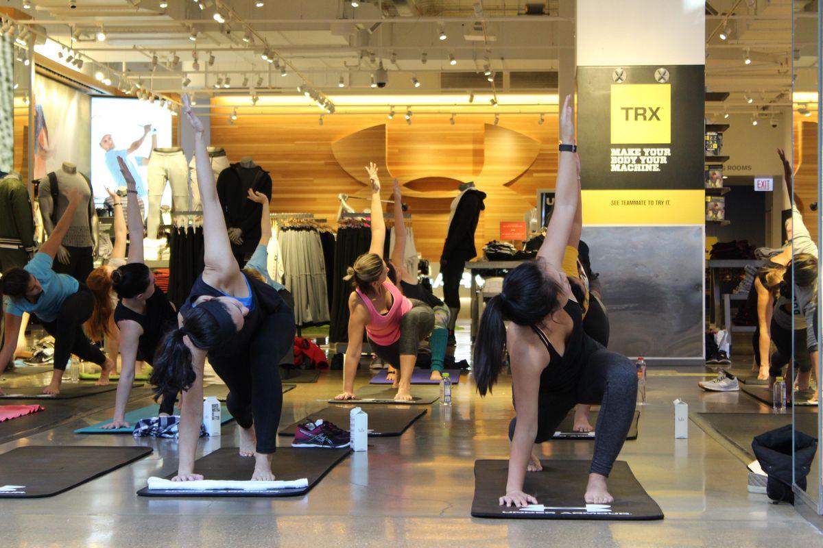 Sweat & Savasana Michigan Ave  Namaste Ros Yoga at Under Armour Chicago
