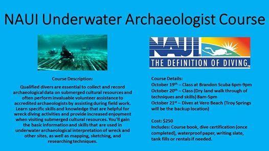 NAUI Underwater Archaeologist Course at Brandon Scuba, Florida