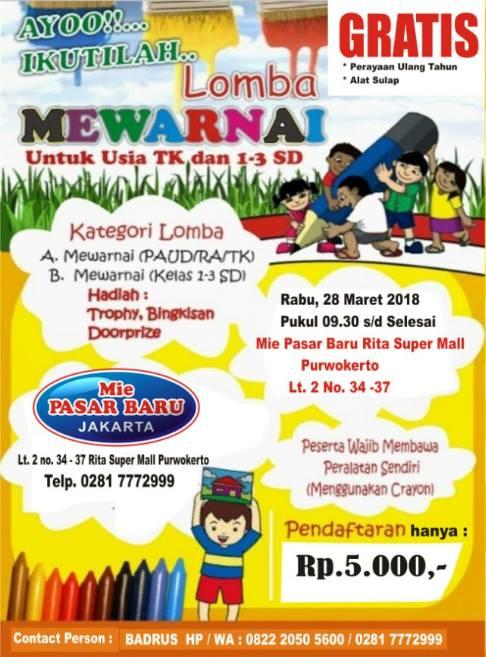Lomba Mewarnai At Mie Pasar Baru Jakarta Kabayan Purwokerto