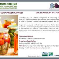 2017 Winter Garden Workshops - Preserving Your Garden Harvest