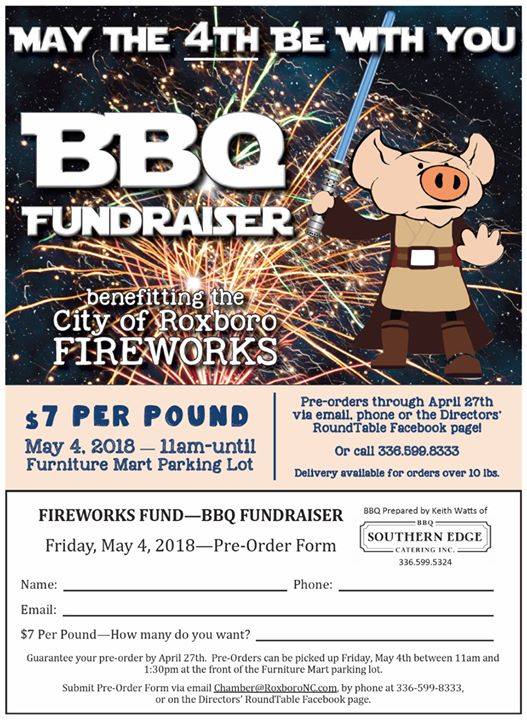 BBQ Fundraiser For City Of Roxboro Fireworks Display At Furniture Mart,  Roxboro