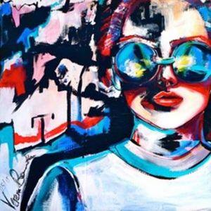 ArtNight Acryl Collage - Frau am 29042019 in Karlsruhe