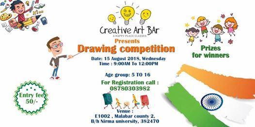 Drawing compeion for kids at Creative Art Bar, Ahmedabad on