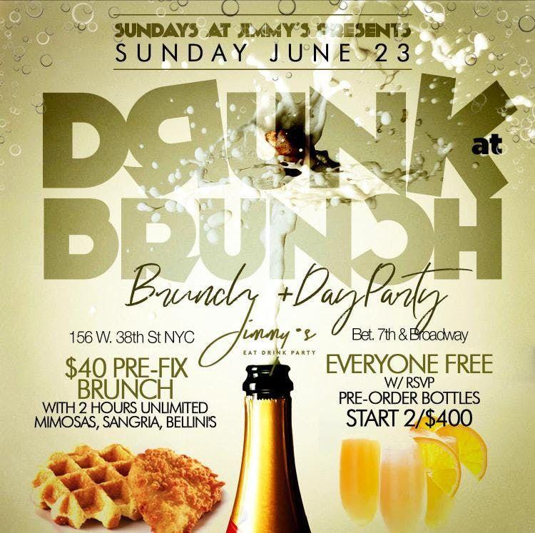 Drunk at Brunch 2hr Open Bar Prefix Menu Bdays  Grads Celebrate Free
