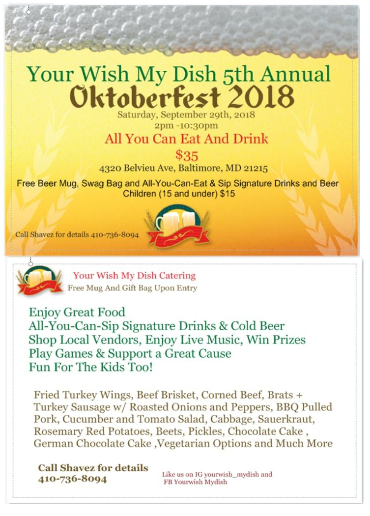 your wish my dish 5th annual oktoberfest at 4320 belvieu ave baltimore