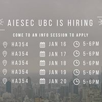 January Recruitment AIESEC UBC is Hiring