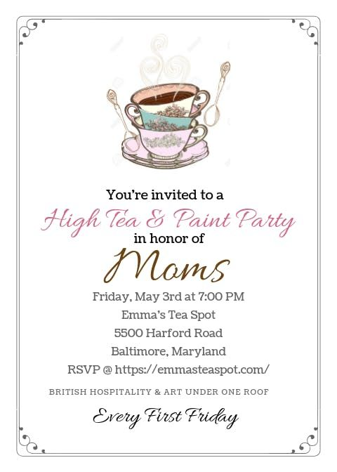 Mothers Day- High Tea  & Paint Night