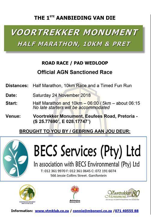 Voortrekker Monument Half Marathon 10km & Pret