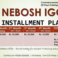 Nebosh Igc at Islamabad Starting from 1st June