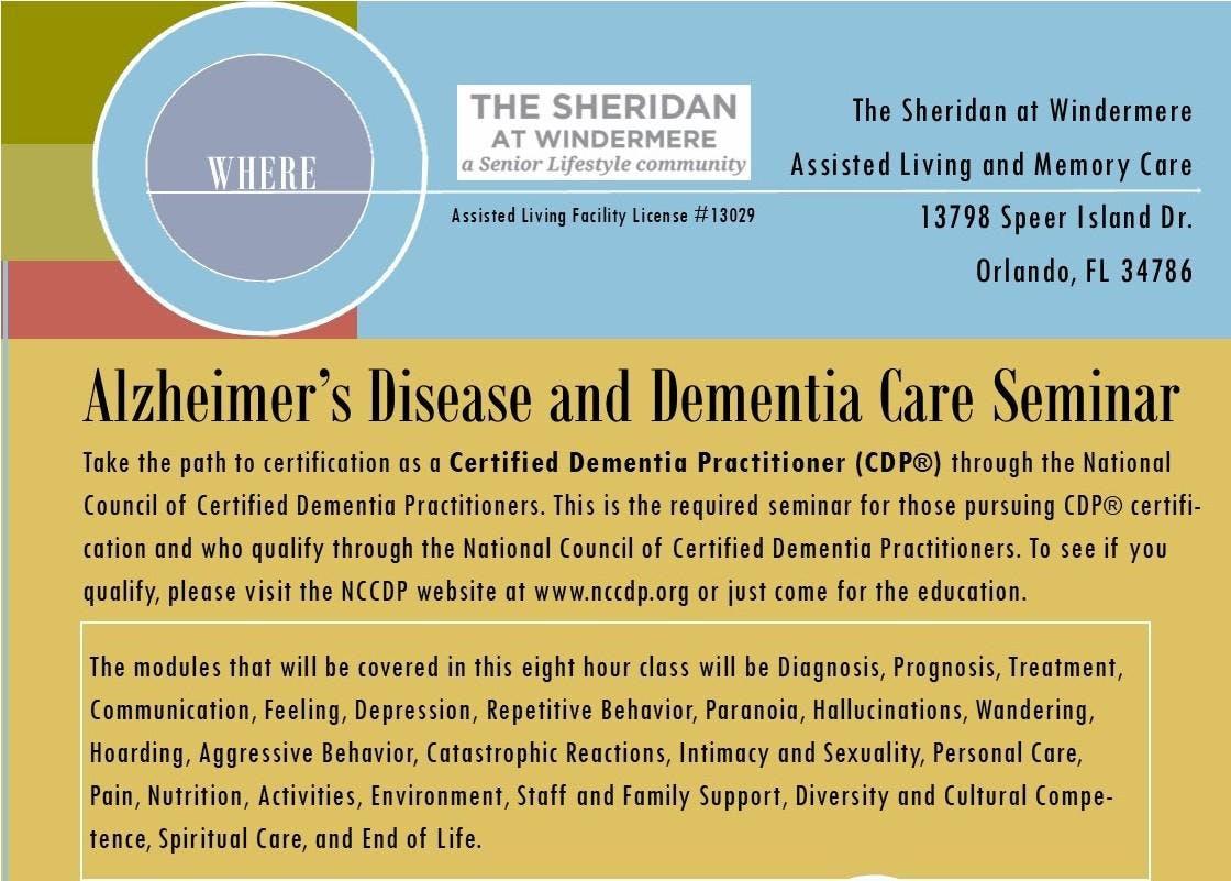 Alzheimers Disease And Dementia Care Seminar At The Sheridan At