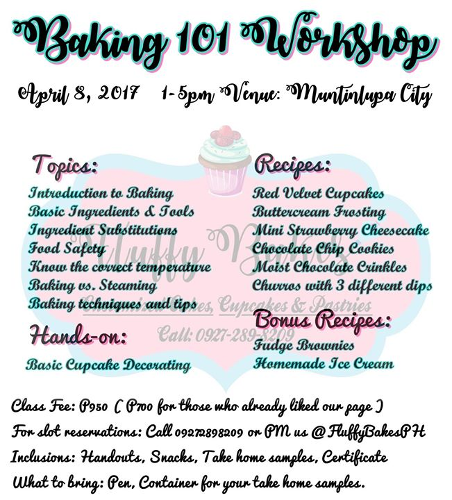 Baking 101 workshop one day only at san pedro philippines baking 101 workshop one day only yelopaper Image collections