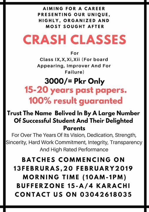 Crash classes started for IX to XII