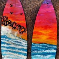 Modern Art Sip and Start Surfboard Painting