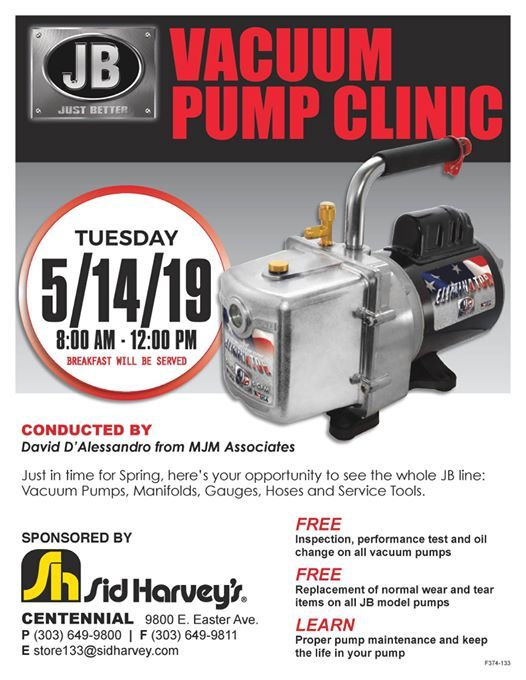 JB Vacuum Pump Clinic at Sid Harvey Industries, Centennial
