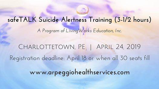 SafeTALK Suicide Alertness Training - Charlottetown PE