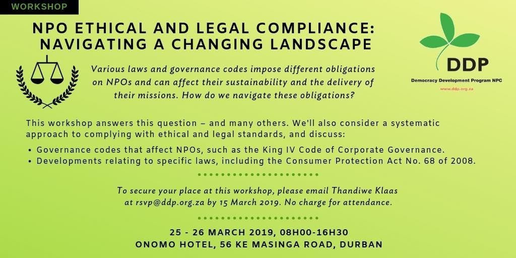 NPO ETHICAL AND LEGAL COMPLIANCE NAVIGATING A CHANGING LANDSCAPE