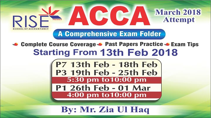 ACCA Exam Folder at Rise School of Accountancy, Lahore