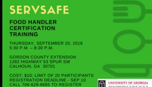 ServSafe Food Handler Certification at Gordon County Young Farmers ...