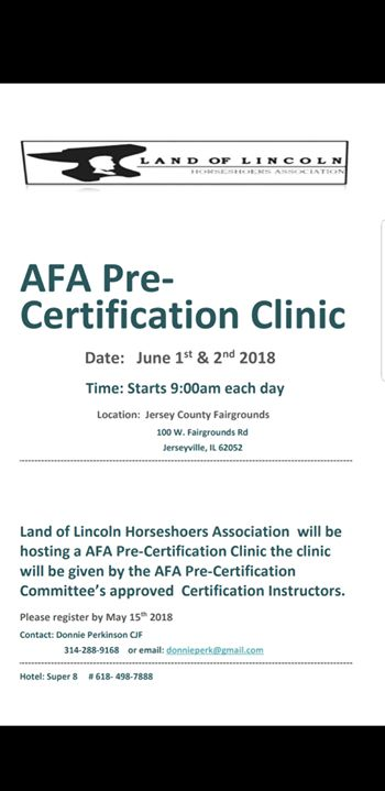 AFA Pre-Certification Clinic at Jerseyville, IL, Jerseyville