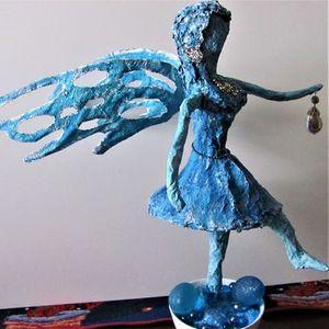 Winter fairy fiber art sculpture