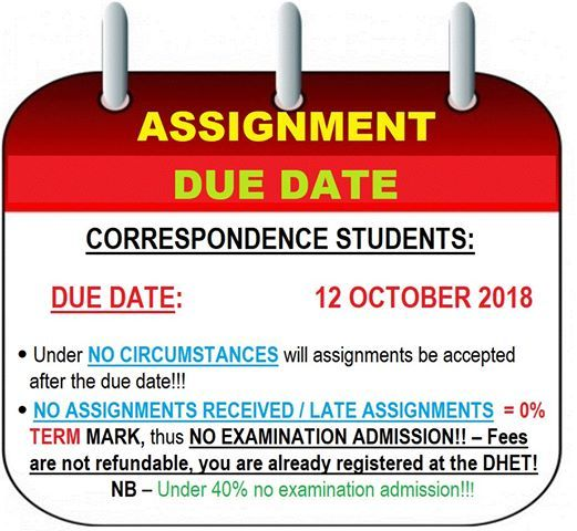 due date for assignments at ntek college  pretoria