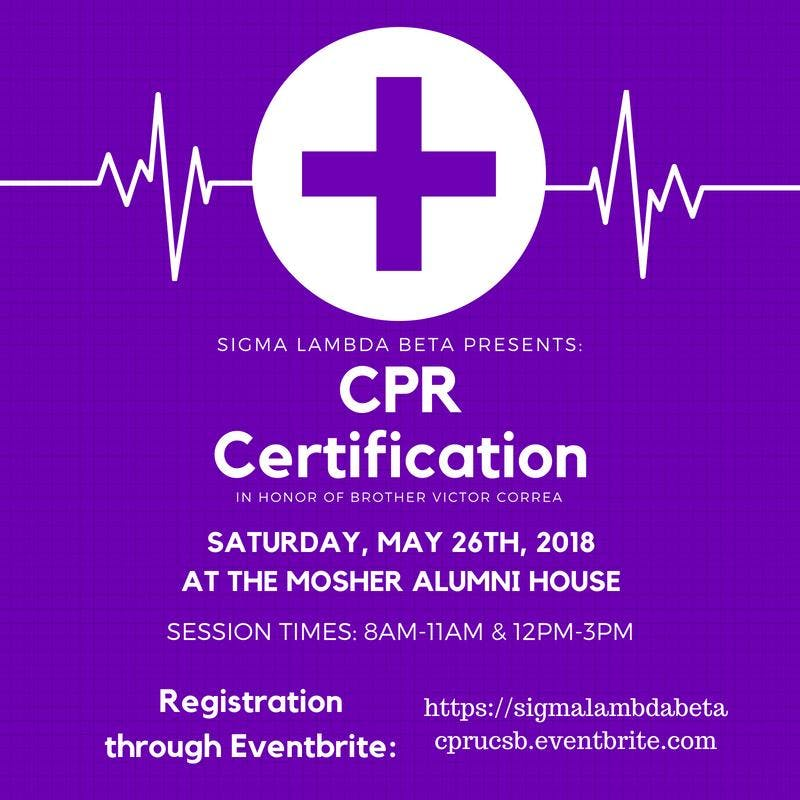 Sigma Lambda Beta Presents Cpr Certification At Mosher Alumni House