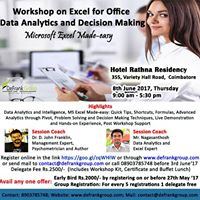 Coimbatore Workshop on Excel for Office Data Analytics