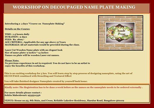 Workshop on Decoupaged NamePlate