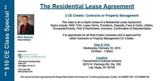 Ce Class Contracts Or Pm Credit The Residential Lease