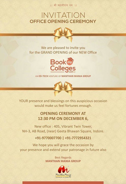 Office Opening Ceremony Invitation At 405 Vibrant Twin Tower Nh