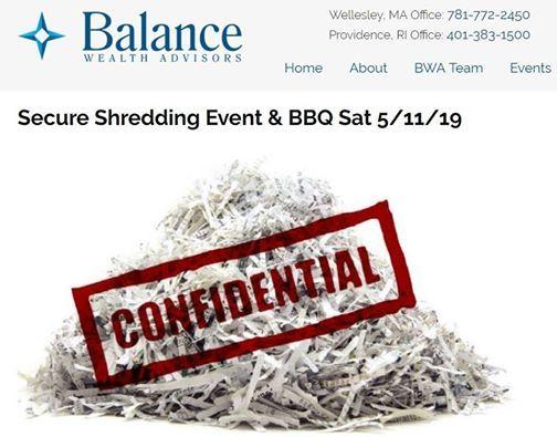 Secure Shredding Event & BBQ Sat 5/11/19 at Balance Wealth
