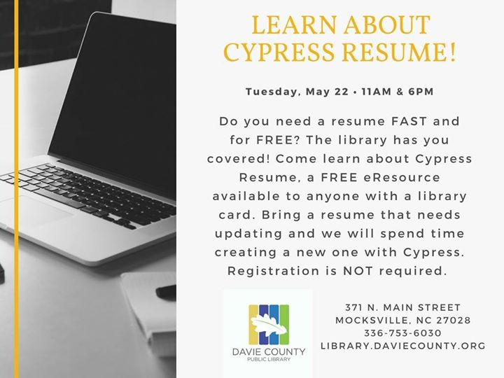learn about cypress resume at davie county public library mocksville