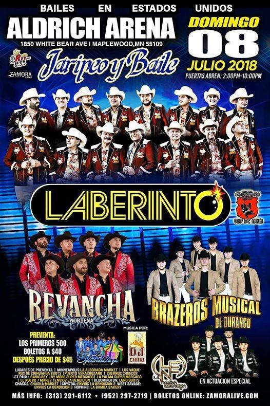 Grupo Laberinto Revancha Norteña Brazeros Musical At Aldrich Arena