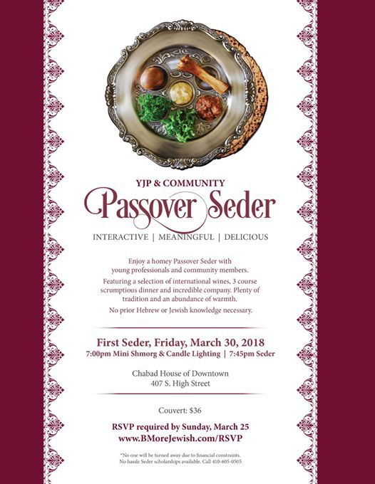 YJP & Community Passover Seder at Chabad of Downtown, Maryland