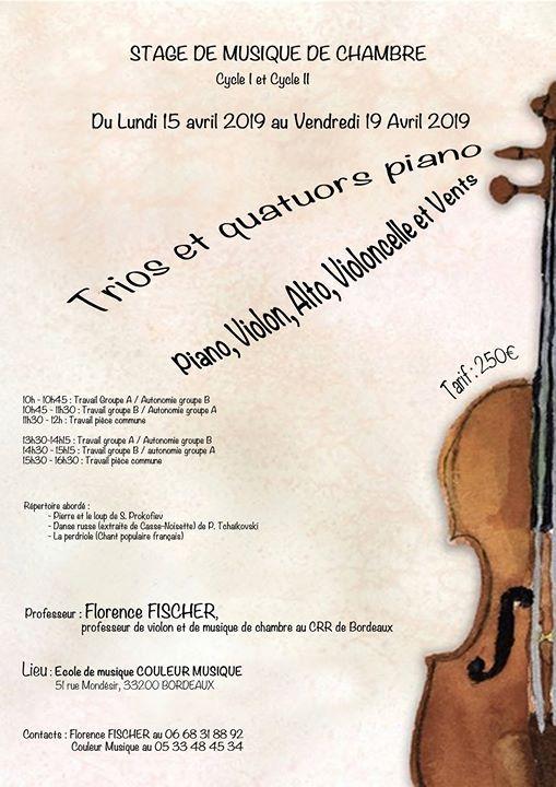 Stage de Musique de Chambre Piano Violon Alto Violoncelle