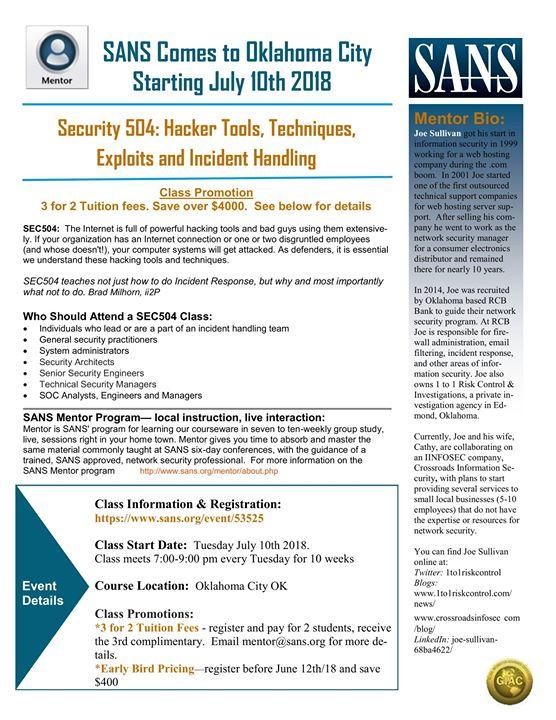 SANS Sec504 Hacker Tools Techniques Exploits And Incident Han