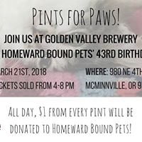 Pints for Paws 1 from every pint sold ALL DAY donated to us