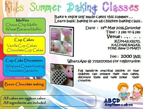 Cake Making Classes In Dombivli : Kids Summer Baking Classes at Kumar Kruti, Kalyani Nagar, Pune