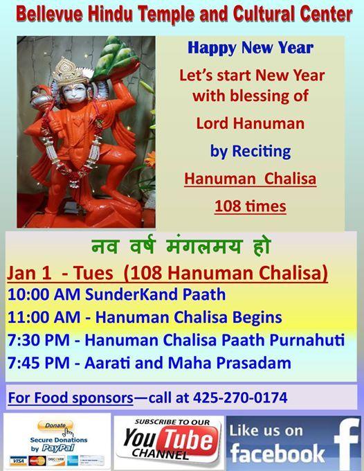 New Year Celebrations (with 108 Hanuman Chalisa) at Bellevue Hindu