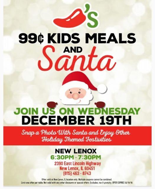 Chilis New Lenox Santa Visit 99 Cent Kid Meals