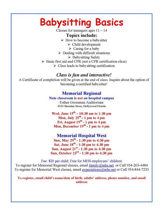 Memorial Healthcare System Babysitting Basics at Esther L Grossman ...
