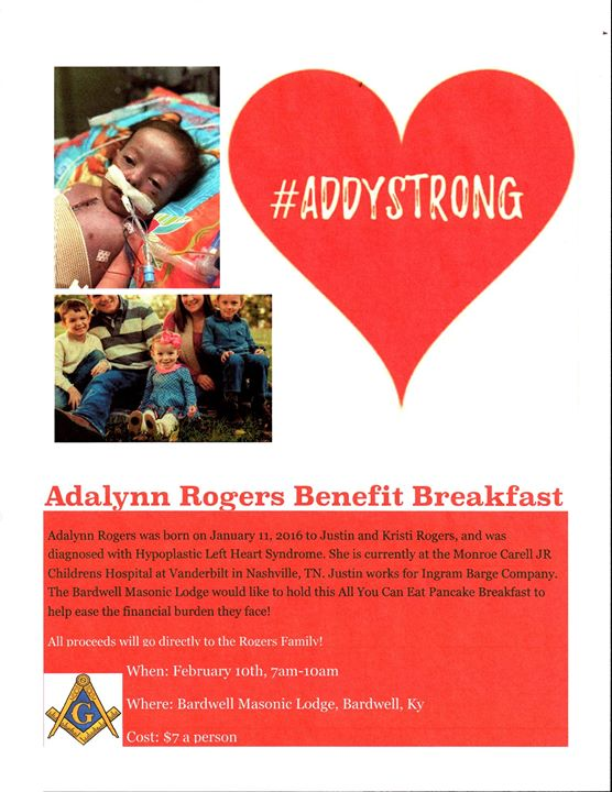 Breakfast Benefit for Addy Rogers at Bardwell Masonic Lodge