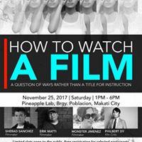 Active Vistas Film Talk HOW to WATCH A FILM