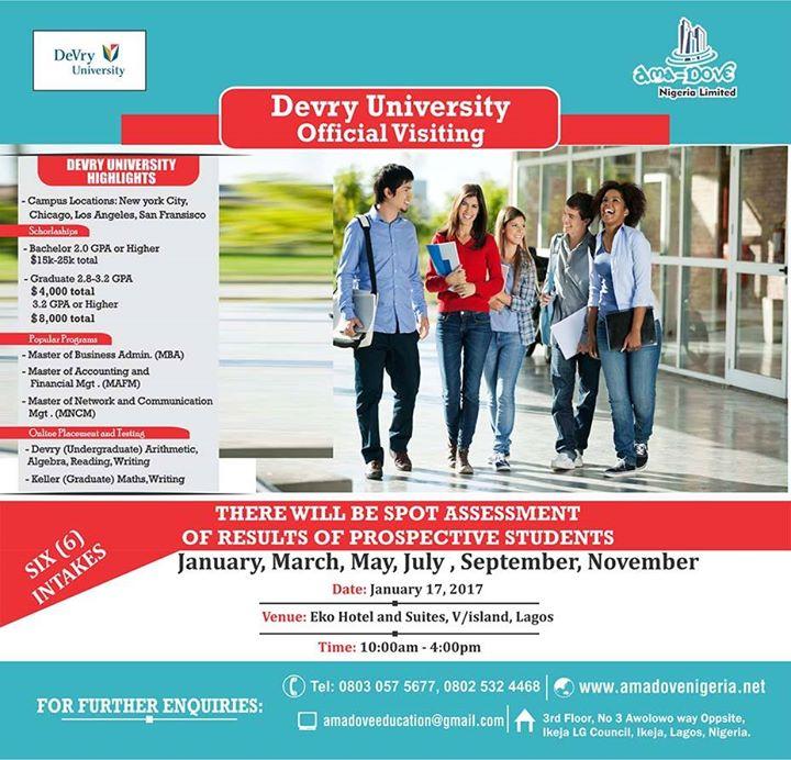 DeVry University Edu Fair in Nigeria at AMA Dove Nigeria