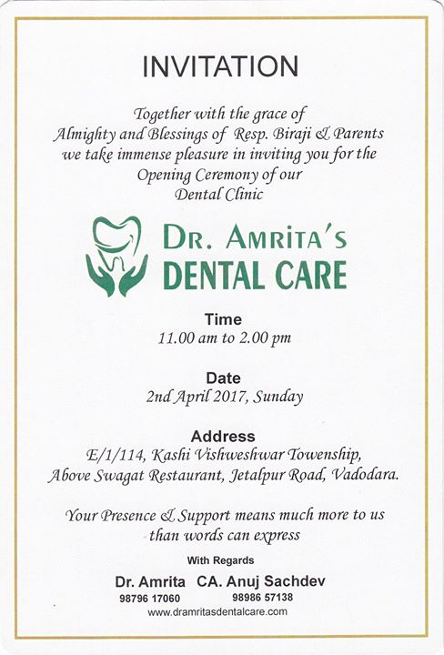 Inaugural Ceremony at Dr Amritas Dental Care Vadodara