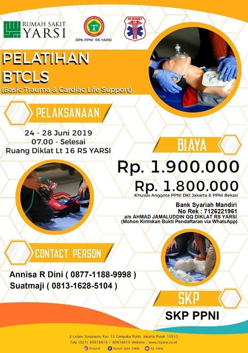 Btcls Pro Emergency Rs Yarsi Jakarta Rs Yarsi Jakarta June 24 To June 28 Allevents In